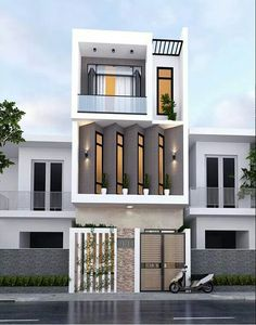 29 Best Modern Dream House Exterior Designs You Will Amazed - House Front Design, Small House Design, Modern House Design, Minimalist House Design, Minimalist Home, Narrow House Designs, Design Exterior, Fantasy House, Dream House Exterior