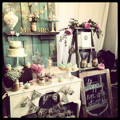 Vintage wedding dessert table styled by Anna's Perfect Parties www.MadamPaloozaEmporium.com www.facebook.com/MadamPalooza