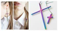 rainbow cross earrings