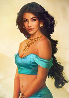 """Jasmin"" from Aladdin - Jirka Väätäinen. Illustrations of what real-life female Disney princesses may have looked like."