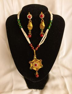 Pearl Kundan Pola Set Necklace Earring.
