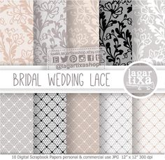 Wedding Lace Patterns Digital Paper Nude by LagartixaShop on Etsy