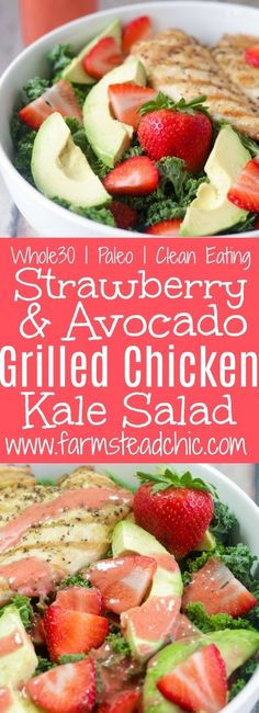 This Paleo and Whole30 Strawberry Avocado Kale Salad has a base of kale. Add grilled chicken to make it a full meal and drizzle with Strawberry Vinaigrette. A simple gluten free, grain free and dairy free superfood meal! Leave off the chicken for a vegeta Best Paleo Recipes, Superfood Recipes, Whole 30 Recipes, Real Food Recipes, Paleo Meals, Paleo Food, Vegetarian Food, Free Recipes, Chicken Recipes