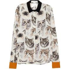 Stella McCartney Wilson cat-print silk shirt ($625) ❤ liked on Polyvore featuring tops, multi color tops, silk tops, stella mccartney, multi color shirt and silk shirt