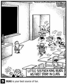 LIttle Stephen King reads his first story in class. Thanks Fans of Stephen King Stephen King It, Steven King, Emily King, I Love Books, Good Books, Library Humor, First Story, Humor Grafico, Funny Cartoons
