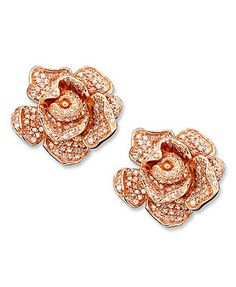Pave Rose by Effy Collection 14k Rose Gold Earrings, Diamond Flower (1-1/3 ct. t.w.)<32729.<3<3 wanna