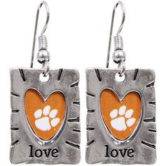 Clemson Tigers Team Color Love Earrings