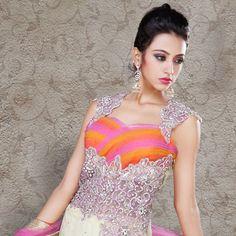 Light Cream Flare Net #Lehenga Choli with Dupatta