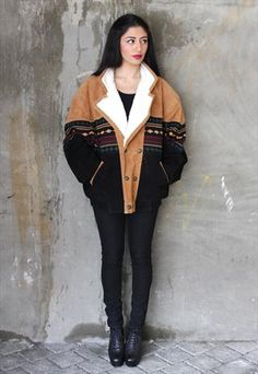 Vintage 1980's Tan / Black Leather Navajo Aztec Sherpa Coat