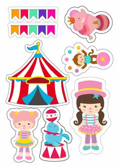 The Circus for Girls Free Printable Cake Toppers. Carnival Themes, Circus Theme, Circus Party, Party Themes, Sprinkle Shower, Little King, Retro 9, Baby Mermaid, 14th Birthday