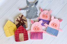 Felt Crafts Kids, Felt Kids, Pig Crafts, Puppet Crafts, Felt Baby, Glove Puppets, Felt Puppets, Puppets For Kids, Felt Finger Puppets
