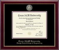Texas A&M University Diploma Frame - Features a custom-minted medallion of your school seal enhanced with hand-painted color enamel accents. The medallion is placed in a special bevel cut opening within double black and maroon museum-quality matting and the school name is gold embossed below. It is framed in our Gallery moulding crafted of solid hardwood with a high-gloss cherry lacquer finish and gold inner lip.   This frame fits a Bachelors, Masters and PhD degree.