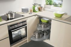 This corner is also being well-utilised: by a corner unit with swivel pull-outs