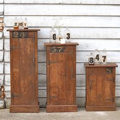 Ooh yes... we just took delivery of these amazing cabinets (from bedside height to tall storage). The numbers are original as each piece is made from shelving from a woollen mill and the numbers are from the open shelves. From £195 and online now. #vintages http://www.homebarnshop.co.uk/product-category/view-all-vintage-reclaimed-furniture-homeware/