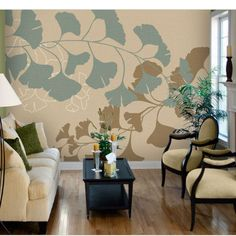 Teal Gingko Tella Mural - Wall Sticker Outlet