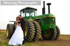 country wedding photos in the Fall  love this but the tractor has to be red