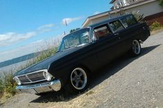 wagon with tires on wheels on a 1965 Ford Falcon station wagon. Car has Shelby Drop in front, and Global West lowering springs. No problems with rubbing. 65 Ford Falcon, Station Wagon, Old Cars, The Past, Wheels, Drop