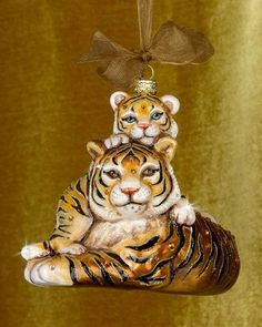 H8LJ7 Jay Strongwater Mother & Baby Tiger Christmas Ornament