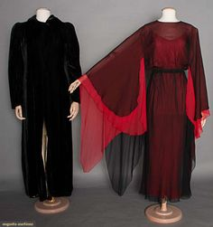 Chiffon Gown & Velvet Coat, Mid 20th C, for upcoming auction. #vintage #1960's