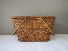 Vintage Picnic Basket, Wicker Basket, Bamboo Handle Picnic Basket by southernhomevintage on Etsy