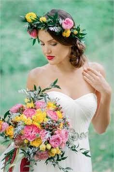 Yellow, pink and green wedding bouquet + one BEAUTIFUL bride!