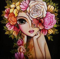 Dark Art Drawings, Cute Drawings, Indian Folk Art, Witch Art, Whimsical Art, Art Sketchbook, Fabric Painting, Portrait Art, Face Art