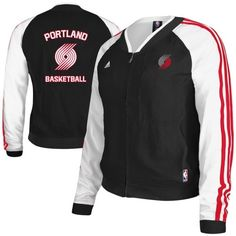 adidas Portland Trail Blazers Ladies Tip Off On-Court Woven Full Zip Track  Jacket - Black White 5bc057572