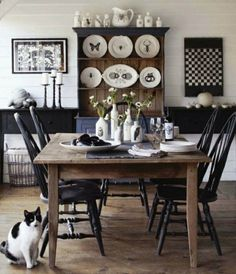farmhouse- love the black and white, especially the black chairs.