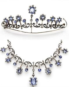 a diamond and Ceylon sapphire tiara/necklace, 1900, with thirteen sapphires, sold by Christie's on 9 October 2013 for £8,125