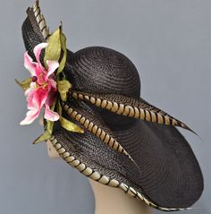 Kentucky Derby Hat, Garden Party, Couture Women's Hat, Easter, Large Brim, Panama Straw, Handmade, Hand blocked. $385.00, via Etsy.