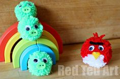 We have been going pompom crafts mad. The kids love these (easy) Angry Bird pompoms.. perfect for catapulting around the house!