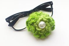 Crochet green brooch crochet flower green green by SilviStudio, $10.00