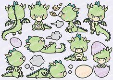 Haut de gamme Vector Clipart Dragon Kawaii Cute Baby