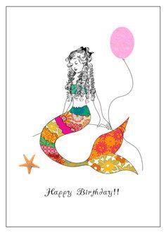 Mermaid Birthday Card by LittleIdeasStudio on Etsy