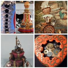 Steampunk wedding cakes.  Now these are cool!