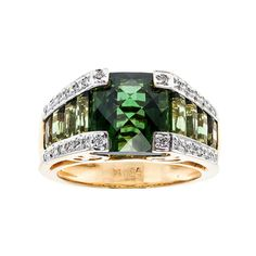 Tourmaline and diamond yellow gold ring from Bellarri. total weight VS, center square 10 x 28 round full cut diamonds, approx. total weight G, VS Size and sizableStamped: yellow gold Tested: Hallmark: B I USA Buy Diamond Ring, Gold Diamond Rings, Diamond Jewelry, Real Gold Jewelry, Jewelry Rings, Green Tourmaline, Antique Rings, Cocktail Rings, Fashion Rings