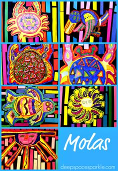 Cut Molas A great lesson that teaches Mexican and South American cultures: marker and paper Mola art project.A great lesson that teaches Mexican and South American cultures: marker and paper Mola art project. Illustration Photo, Illustrations, South American Art, Latin American Culture, American History, Native American, Hispanic Art, Art Lessons Elementary, Elementary Spanish