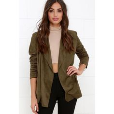 Pleasant Journey Olive Green Suede Jacket ($58) ❤ liked on Polyvore featuring outerwear, jackets, green, brown suede jacket, suede leather jacket, green military jacket, drape jacket and open front jacket