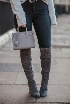 fd3181e199be Monochrome Grey Over The Knee Boots Outfit | Raindrops of Sapphire