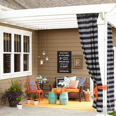 Pergola- Want to boost the beauty and usefulness of your outdoor spaces? Put one of these inspiring DIY patio ideas to work in your landscape. Small Outdoor Spaces, Outdoor Rooms, Outdoor Living, Outdoor Decor, Outdoor Curtains, Pergola With Curtains, Small Spaces, Diy Patio, Backyard Patio