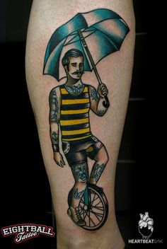 ~ New Traditional tattoo ~ man and unicycle