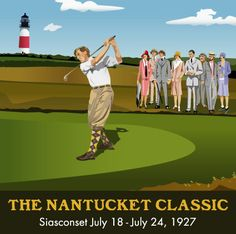 Giclee print, archival, Nantucket, Golf, Golfer, Golfing, Print, summer house, vacation, 1920s