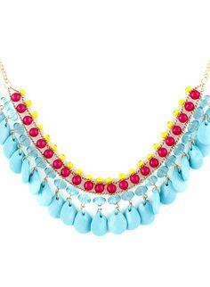 Collier en chaîne agrémenté de multi gemmes -bleu  EUR€6.03