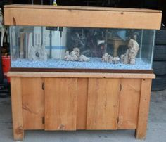 100 Gallon Fish Tank W Solid Wood Stand Canopy