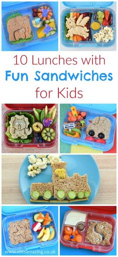 10 Lunchbox Ideas with LunchPunch Fun Sandwiches 10 fun lunch box ideas for kids with fun lunchpunch sandwiches – great for bento boxes packed lunches and fun food at home – Eats Amazing UK Fun Sandwiches For Kids, Sandwiches For Lunch, Lunch Box Bento, School Lunch Box, Bento Kids, Lunchbox Kind, Kindergarten Lunch, Cool Lunch Boxes, Boite A Lunch