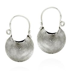 Evoking tribal baskets, these earrings exhibits the Yao Hill Tribe expert artistry. Spirals filled the baskets with hypnotic elegance. These fashionable earrings were crafted by hand with Thai Hill Tribe pure silver.