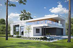 Projekt domu piętrowego Kubiczny D30 o pow. 148,35 m2 z obszernym garażem, z dachem płaskim, z tarasem, sprawdź! Home Building Design, Building A House, House Design, 5 Bedroom House Plans, Plans Architecture, Construction Cost, Le Corbusier, Minimal Design, Home Fashion