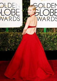 Orange is the New Black star Taylor Schilling slays the #ERedCarpet in Ralph Lauren for the 2015 #GoldenGlobes
