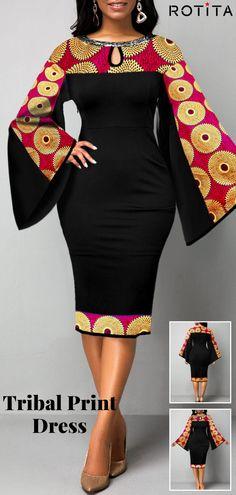 Flare Sleeve Tribal Print Keyhole Neckline Dress - Source by kessi_mc_gmx - Short African Dresses, Latest African Fashion Dresses, African Print Dresses, African Print Fashion, Women's Fashion Dresses, Africa Fashion, African Style Clothing, African Women Fashion, Modern African Fashion