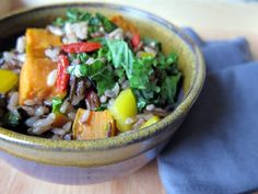 warm wild rice salad with sweet potato, kale and peppers